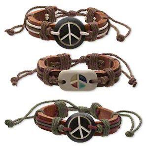 Leather Bracelets Peace Adjustable Wristband Boho Surfer 3 Piece Set