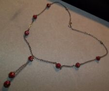 Gorgeous Vintage Sterling Silver Chain Necklace Lampwork Art Glass Beads