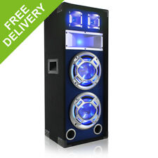 "Skytec 8"" Passive Blue LED DJ Speaker Box House Party Disco Sound Setup 600W"