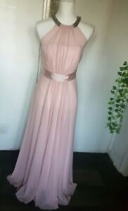 Coast Long Occasion Blush Halterneck  Nude Pale Pink  Dress Prom Wedding Uk 8