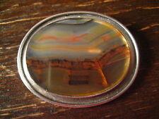 exklusive Art Deco 835er Silber Achat Brosche Landschaft Bilderachat Unikat