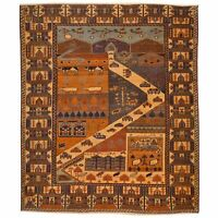 Tribal Hand-Knotted Pictorial Design Handmade Pure Wool Rug 4.8 X 6.0 Brral-6510