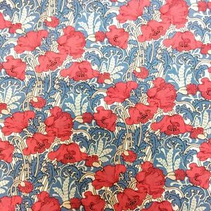 Liberty Clementina Red Poppies Tana Lawn Cotton Fabric, per 50cm