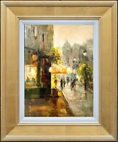 Framed Original Oil Painting for Memorable Gift, Sunset Gold City, Lawson Signed