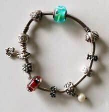 "Pandora Sterling Silver Bracelet With 10 Charms (8"")"