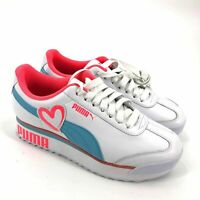 NWOT Puma Roma Amor Heart Women's Sneakers Size 8 White Pink Teal