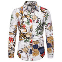 Luxury Mens Flower Print Casual Shirts Slim Fit Men Dress Tops Slim Fit T-shirts