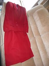 Cranberry Red 100% Worsted Wool 2 pc Suit Sz 10 Jacket 12 Skirt Charter Club