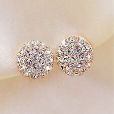 Elegant Fashion Women Lady Circle Crystal Rhinestone Ear Stud Earrings Jewelry