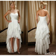 Short Bridal Gowns Plus Size Chiffon High Low Country Western Wedding Dresses