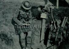 """British Army Highlander Reading a Letter in Trench World War 1 5.5x4"""", Reprint"""