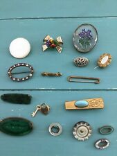 Lot of Vintage Antique Pins and Clips enameled, handpainted, mother pearl etc