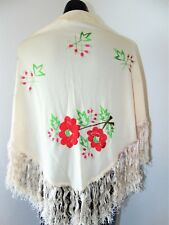 Vintage Fringed Shawl with Beautiful Floral Embroidery