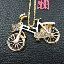Women's White Enamel Crystal Bicycle Pendant Betsey Johnson Sweater Necklace