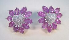 PINK & WHITE SAPPHIRE HEART EARRINGS 13.51 CTW - WHITE GOLD over 925 SILVER