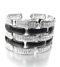 EXQUISITE 18kt White Gold Plated CZ Crystals Black Onyx Lucite Links Bracelet