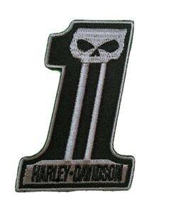 Biker Skull Iron-On Patch Motorcycle Harley Number 1