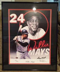 Willie Mays Signed Framed Tim Cortes Lithograph SF Giants Steiner Authentication