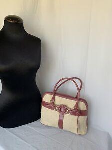 Giani Bernini NWT Straw & Vegan Pink Leather Handbag Tote Purse W/Organizer Wall