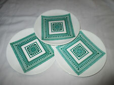 Three White Green 21cm Plates Designed By Robin Wallace, RBA (1897-1952)