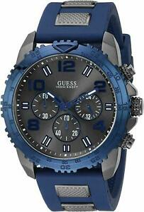 New Guess Chronograph U0599G2 Blue Silicone Band Women's Watch