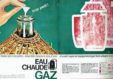 PUBLICITE ADVERTISING 106  1964  Eau chaude au Gaz  de France  (2pages)