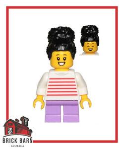 LEGO Minifigure - City - Girl, White & Red Stripes Sweater, Lavender Leg CTY1019