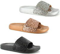 Ladies Womens Ella Mule Slip On Sparkly Glitter Footbed Sliders Beach Sandals SZ