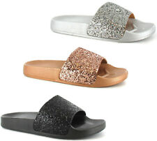 Ladies Womens Ella Mule Slip On Sparkly Glitter Footbed Sliders Beach Sandals SZ