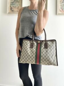 Authentic Vintage GUCCI Brown Monogram GG striped TOTE bag PURSE LARGE Striped