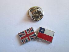 Chile & Uk Friendship Enamel Metal Lapel Pin  -24 x 8mm   -  L074