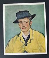 "Van Gogh ""Portrait Of Armand Roulin"" Mounted Offset Color Lithograph 1950"