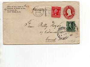 USA Ganzsache 2 Cent  + ZuF 10.Sept.1907 Brief New York nach Cassel