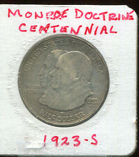 1923-S MONROE DOCTRINE COMMERATIVE HALF DOLLAR  (D402) 90% SILVER