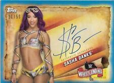2020 Topps WWE Road to WrestleMania Autographs Blue #ASB Sasha Banks Auto /50