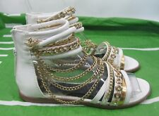 Summer White/Gold Womens Fashion Ankle Strap Gladiator Sandals Size 6