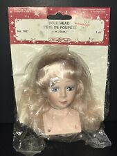 "1991 Fibre Craft 4"" Doll Head #7627 NEW Parts Craft Blonde"