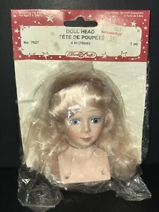 """1991 Fibre Craft 4"""" Doll Head #7627 NEW Parts Craft Blonde"""