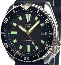 "Vintage mens watch SEIKO diver 7002 mod w/Army Green BAYONET & ""Box"" SS hand set"