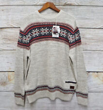 Parish Nation Big Mens 2X Cream Sweater Snowflake Patterned Knit New with Tags