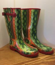 New WOMENS TAMARA HENRIQUES Red/Green RUBBER Rain Boots Size 40