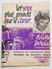 Partition vintage sheet music COLETTE DEREAL : Les Yeux Plus Grands * 60's Emer