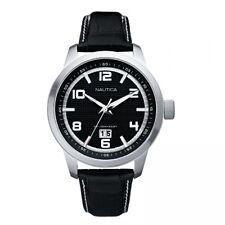 Reloj para hombres NAUTICA NCT 400 Grandes Negro Esfera Negra Fecha Correa de Cuero A13551G