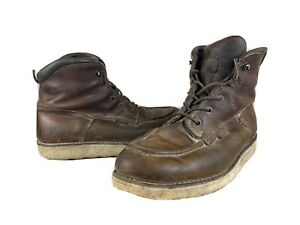 Mens Red Wing Heritage Brown Moc Toe Leather Boots SIZE 10 EE