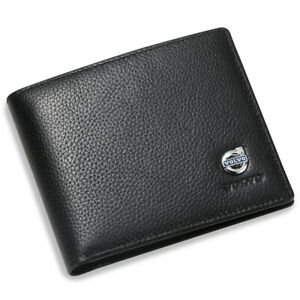 Volvo Black Bifold Wallet Genuine Leather with 6 Credit Card ID Holder Men Car
