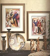 """African American Black Art Prints """"JAZZY II AND JAZZY III"""" by Essud Fungcap"""