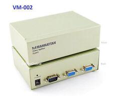 2-Way HD15 VGA Monitor Video Splitter/ Multiplier Adapter, 1 PC to 2 Monitors/TV