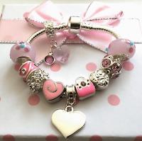 Engraved ANY NAME Girls Ladies daughter childrens pink charm bracelet n gift box