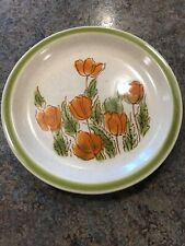 """6"""" Meadowbrook Stoneware Japan Oven To Table Orange Tulips Plate Vintage Antique"""