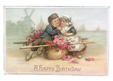 Vintage Happy Birthday Postcard - Dutch Children, Windmill & Ships 1911